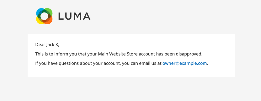 Customer Notification Email - After Account Disapproval